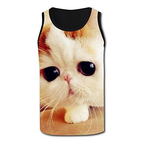 Men Boy Garfield Cat 3D Print Casual Custom Sleeveless Tanks Vest T-Shirt XL ()