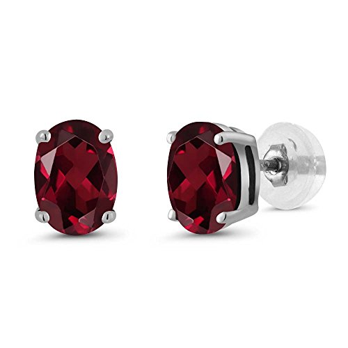 Gem Stone King 1.80 Ct Oval 7x5mm Red Rhodolite Garnet 14K White Gold Stud Basket Setting Earrings