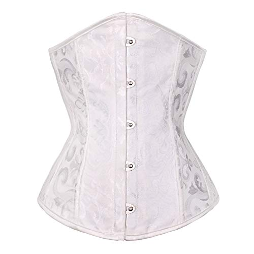 BARGOOS Women Underbust Corset Belt for Halloween Plus Size Floral Lace Up Waist Trainer for Weight Loss White