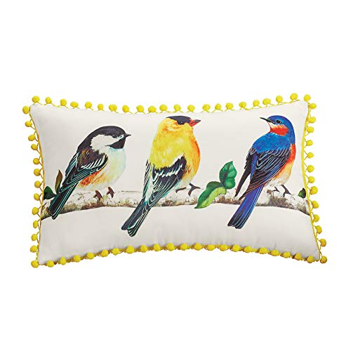 - Collections Etc Bird Branch Decorative Throw Pillow with Yellow Pom Pom Border - Spring Decor Accent for Living Room