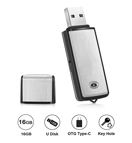 Voice Recorder by Lgsixe USB Flash Drive 384Kbps Digital Voice Recording 16gb No Flashing Light When Recording,Compatible with Windows,Android OTG Mini Recorder