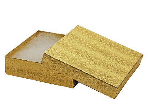 Gold Foil Cotton Filled Gift Boxes Jewelry Cardboard Box Lots of 25 ( 3 1/2