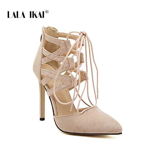 00e3c9c452e0d Amazon.com: DingXiong Lace-Up High Heels Women Shoes Roman Sandals ...