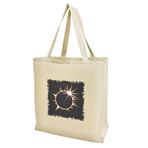 Total Solar Eclipse Painted Grocery Travel Reusable Tote Bag - Large by Graphics and More