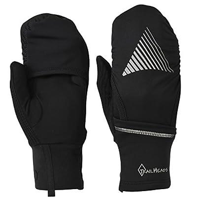 TrailHeads Touchscreen Convertible Running Gloves with a Waterproof Mitten Shell   Lightweight & Reflective - 2 Colors
