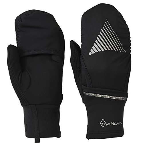TrailHeads Men's Convertible Running Gloves - Black/Reflective (Medium/Large)