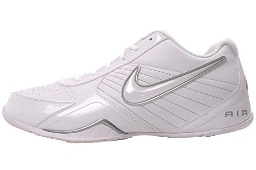 Nike Mens Air Baseline Low Basketball Shoes-White/White-Metallic Silver-10