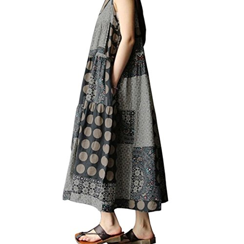 Knit Tiered Skirt (TOTOD Women Summer Sleeveless Linen Strappy Loose Bohe Print Long Casual Sling Dress Plus Size (L, Gray))