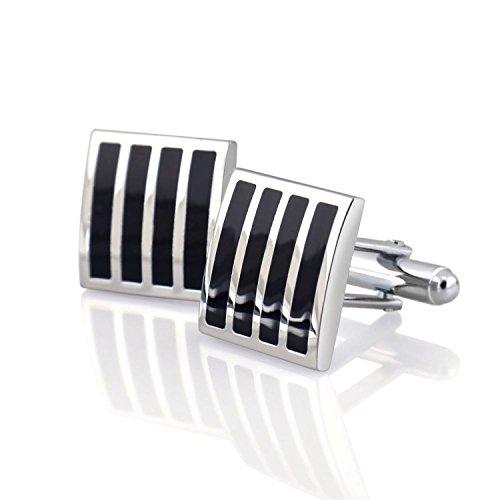 INSTEN Cufflinks, Black/Silver Square Version - Cufflinks Gucci