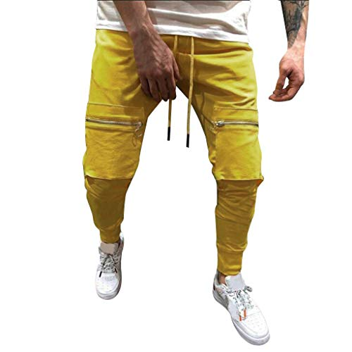 - Mens Pants Pure Color Pocket Overalls Casual Pocket Sport Work Casual Trouser Yellow