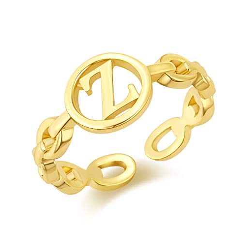 Hapuxt Gold Rings for Women 14K Gold Plated Adjustable Gold Chain Initial Ring