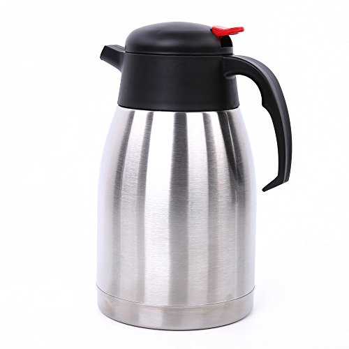 IEBIYO Thermal Carafe, 1.5 Liter Stainless Steel Coffee Thermos w/ Leak-proof Screw Lid & Press Button Pour Spout, Rust Resistant Double Walled Vacuum Insulated Hot/Cold Beverage Container Coffee Pot by IEBIYO