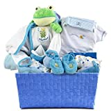 Blue Layette New Baby Boy Gift Basket - Great Shower or Easter Gift Idea for Newborns