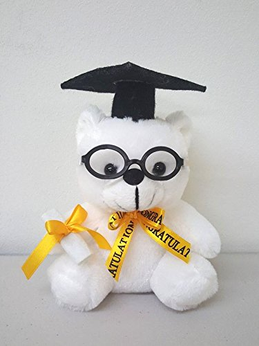Plush White Teddy Bear with Black Cap and Congratulations Ribbon - 6.5