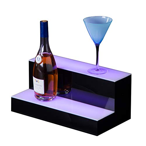 - Topvendor LED Lighted Liquor Bottle Display with Remote Control Home Bar Bottle Shelf (16