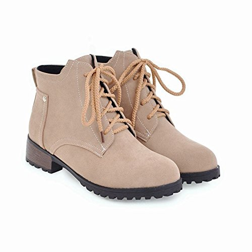 YE Damen Flache Ankle Boots Stiefeletten mit Schnürung Bequem Simple Schuhe Beige