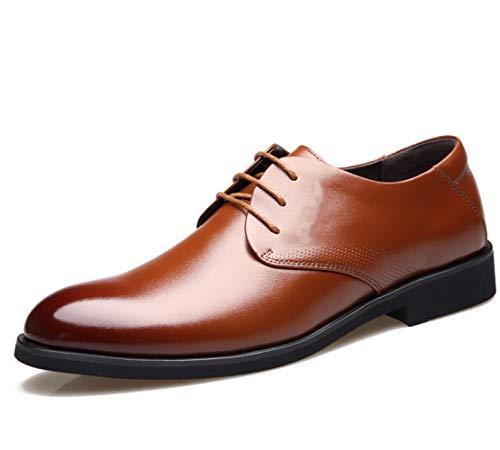 FZHLY Formale Lederschuhe der Männer beschuhen Runde Zehe-Schnürschuhe mit Klagehosenart und weisearbeitsgeschäft 474 Brown