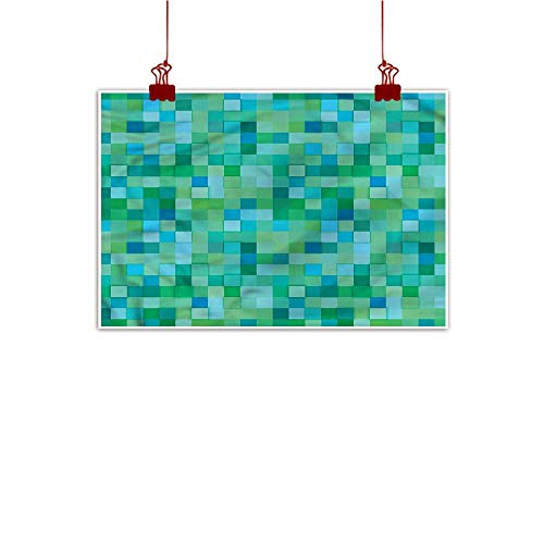 Simple Life Minimalist Teal,Cube Pattern Vibrant Color 28