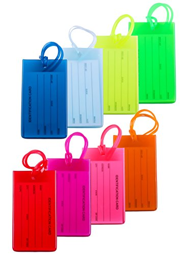 8 Packs Colorful Flexible Travel Luggage Tags for Baggage Bags / Suitcases...