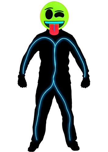 [GlowCity Light Up Super Bright Wink Emoji Stick Figure Costume For Parties, Aqua - Medium] (Stickman Light Costume)