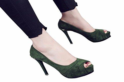 A Scarpe Dodici Centimetri Uno Primavera Da Scarpe green donna Con Camoscio Alti Scarpe Di Donna Tacchi Pesce Di Spessore GTVERNH Scarpe da Piattaforma Bocca navwzwHq
