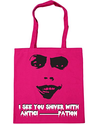 HippoWarehouse I See You Shiver With Antici......pation! Frank . N Furter Silhouette Tote Shopping Gym Beach Bag 42cm x38cm, 10 litres Fuchsia