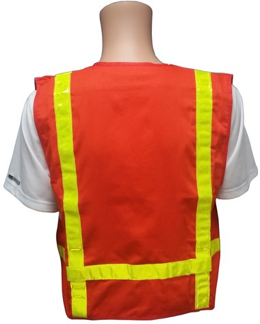 Orange Cotton Surveyors Vest with Lime Stripes - Made in USA - XL size