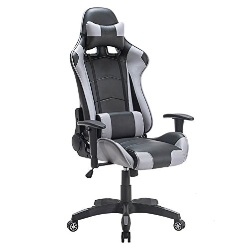 Price comparison product image High-Back Swivel Gaming Chair Black & Grey With Lumbar Support & Headrest / Racing Style Ergonomic Office Desk Chair