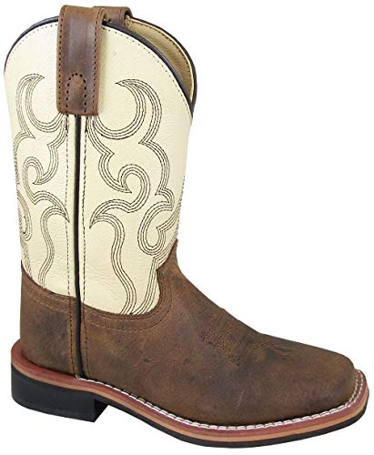 Smoky Mountain Boys' Scout Western Boot Square Toe Cream/Brown 13.5 D