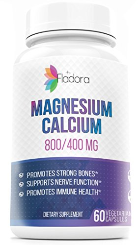 Magnesium Citrate with Calcium - Magnesium 800 mg and Calcium 400 mg - 60 Vegetarian Capsules by Fladora
