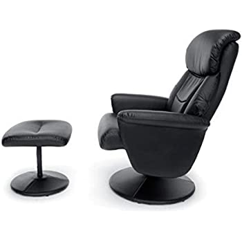 Essentials Massage Office, Computer, or Gaming Chair - Heated Shiatsu, Plush, Leather Recliner and Ottoman, Black (ESS-7050M)