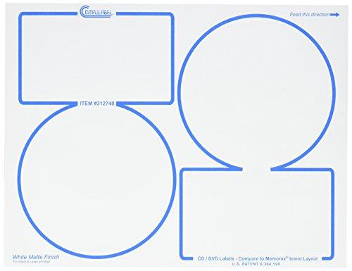 Compulabel 312748 White CD/DVD Memorex Labels for Laser and Inkjet Printers, 4.625 inch, Permanent Adhesive, 2 Per Sheet, 100 Sheets per Carton