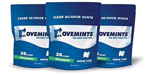 Movemints Clear Aligner Mints - Specially Designed for Invisalign Braces - Edible Alternative to Chewies - Spearmint Flavor - 3 Pack