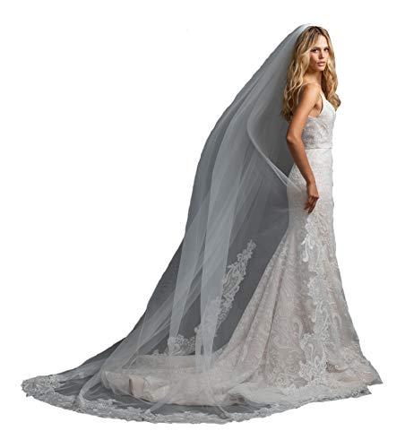 Passat 1Tier 2M Walking veils Ivory caviar trim spanish lace sequin Swarovski Crystal wedding veil ivory LABYRINTH ()