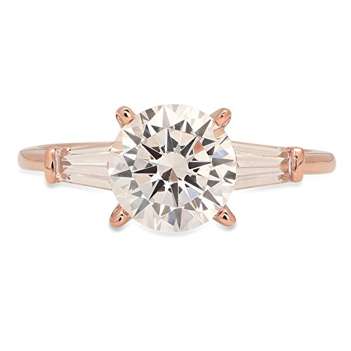 1.9ct Brilliant Round Baguette Cut Solitaire 3 Stone Statement Engagement Wedding Anniversary Promise Bridal Ring Solid 14K Rose Gold for Women, 8.5