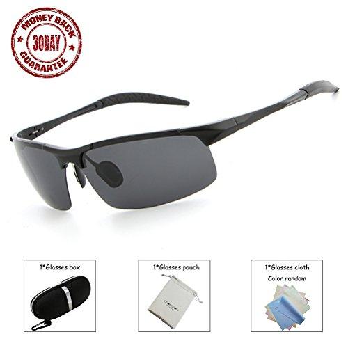 Leonlion 2017 Fashion Sports Al-Mg Light Frame Polarized Sunglasses 100% UV400 for Driving Running Cycling Fishing Basketball Golf Black Frame Black - Basketball Sunglasses