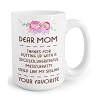immaculife Funny Coffee Mug Dear Mom Mug, Best Birthday Mothers Day Gifts for Mom from Daughter Son, Gift Coffee Mug 15OZ