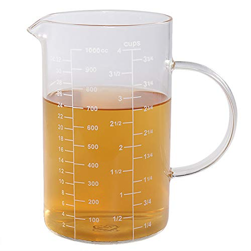 Glass Measuring Cup, [Insulated handle, V-Shaped Spout], 77L High Borosilicate Glass Measuring Cup for Kitchen or Restaurant, Easy To Read, 1000 ML (1 Liter, 4 Cup)