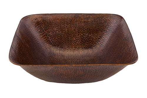 (Premier Copper Products VSQ14BDB Square Vessel Hammered Copper Sink, Oil Rubbed Bronze)
