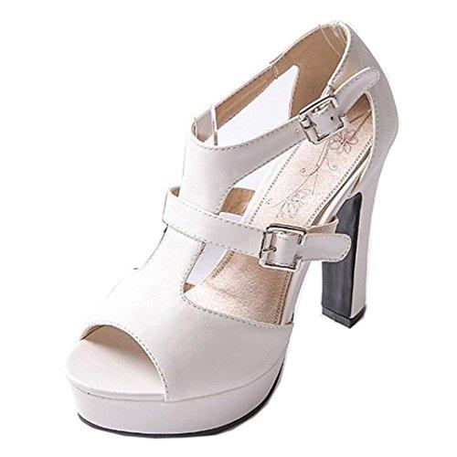 COOLCEPT Hot Sale Mujer Clasico Peep Toe Two Hebilla Al Tobillo Vestir Tacon Alto Sandalias Blanco