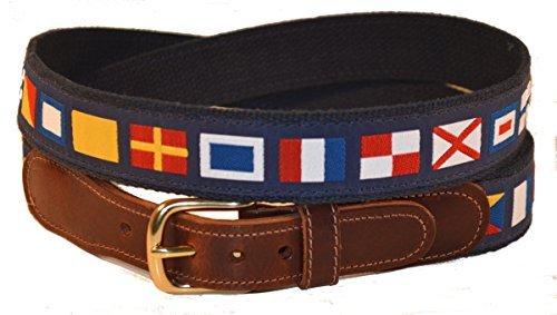 Preston Leather Nautical Code Flag Belt Blue 38 ()