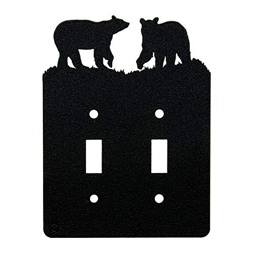 Bear Double Toggle Light Switch Wall Plate(Double Toggle, Black)