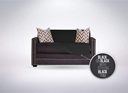 The Original SOFA SHIELD Reversible Furniture Protector, Features Elastic Strap (Chair and a Half: Black/Black)