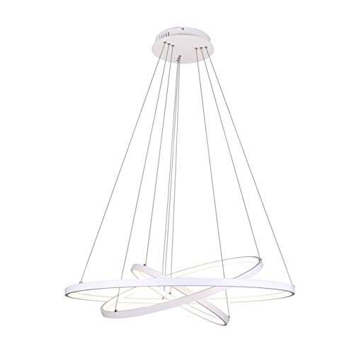 Ring Pendant Light - Unitary Brand Modern White Acrylic Nature White LED 3 Rings Pendant light with Max 90W Painted Finish