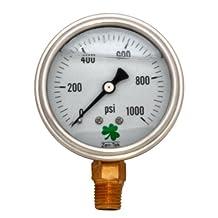 Zenport LPG1000 Zen-Tek Glycerin Liquid Filled Pressure Gauge, 1000 Psi