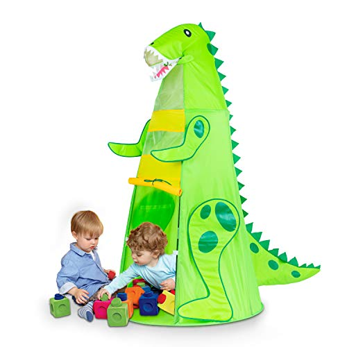 Dinosaur Kids Play Tent, T-REX Tents for Boys, Pretend Play Game, Easy Assemble Folding Tent with Portable Carrying Bag, Best Birthday Gift for Children (60.5