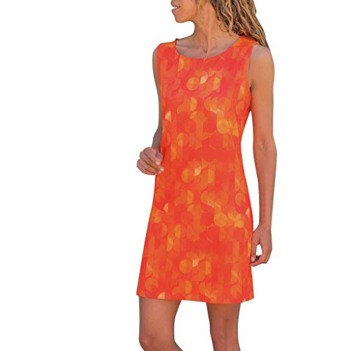QuennMM Clothing Women's Summer Casual Sleeveless Floral Printed Swing Dress Sundress Tunic Tops Casual Swing Tee Shirt Dress Orange