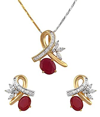 Buy m creation cz studded pendant set without chain for women red buy m creation cz studded pendant set without chain for women red online at low prices in india amazon jewellery store amazon aloadofball Image collections