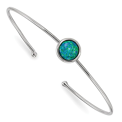 Diamond2Deal 925 Sterling Silver Rhodium-plated Synthetic Blue Opal Slip-on Cuff Bangle