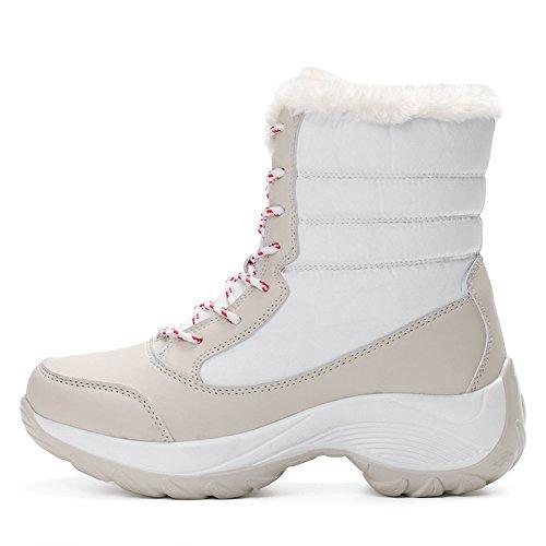 Frauen Mittlere Waden Schnee Stiefel Wasserdichte Anti Skid Pelz Gefüttert Gummisohle Winter Warme Outdoor-schuhe Sport Stiefel Weiß